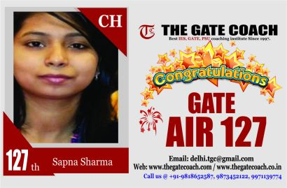 GATE 2016 Toppers AIR 1127