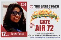 GATE 2016 Topper AIR 72