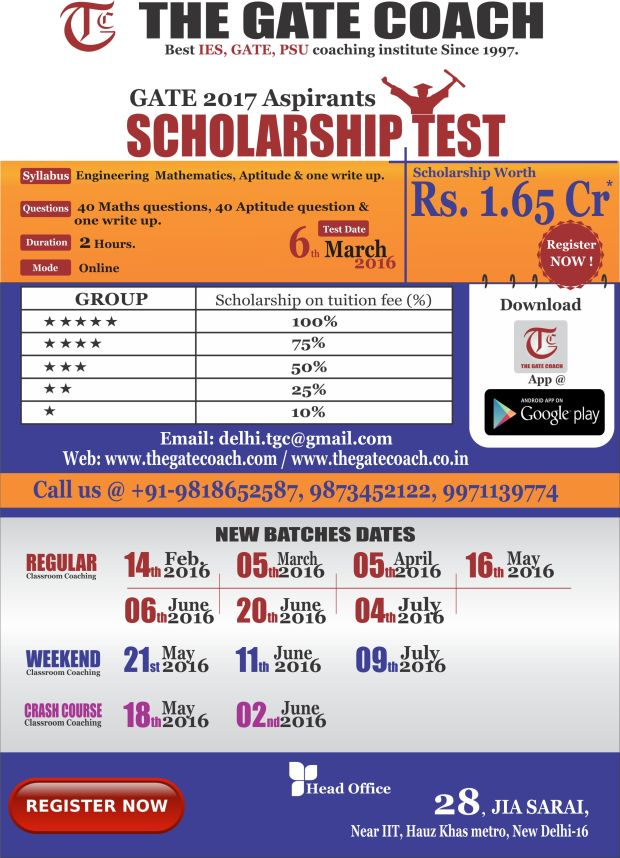 scholarship test for gate 2017