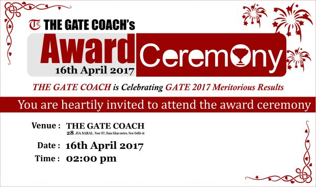 Gate coach award ceremony for Gate 2017 Exam Toppers