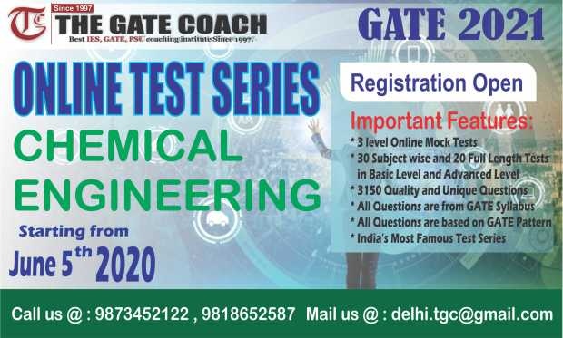 GATE 2021 cHEMICAl engineering